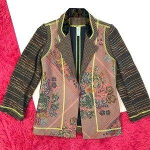Parkinson Velvet Floral Embroidered Blazer